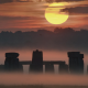 stonehenge, nature, sun, pillar, stone, England, UK, mist, forest wallpaper