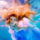women, redhead, dress, underwater, colorful wallpaper