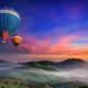 forest, balloons, hot air balloons, nature, sunset, mist wallpaper