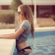 women, glasses, t-shirt, swimming pool wallpaper