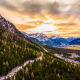 mountains, forest, sunset, fall, clouds, alps, austria, snow, nature, landscape wallpaper