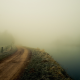 nature, river, fog, mist, dirty road, grass, fence, frost wallpaper