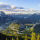 banff national park, canada, mountains, valley, forest, sunset, clouds, nature, landscape wallpaper