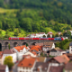 city, tilt shift, train, bridge wallpaper