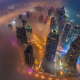dubai, aerial view, night, smog, mist, cityscape, skyscrapers wallpaper