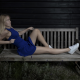 bench, blonde, women, legs, blue dress wallpaper