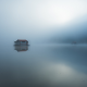 minimalism, lake, water, mist, fog, blurred, house on water, nature wallpaper