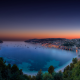 villefranche-sur-mer, nice, france, nature, bay, twilight, hill, sunset, sea, summer, blue water wallpaper