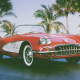 car, chevrolet, 1961 chevrolet corvette, tropics, palm, cabrio wallpaper