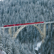 trein, rhaetian railway, langwieser viaduct, bridge, switzerland, nature, winter, forest, snow, tree wallpaper
