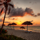varadero, beach, sunset, cuba, clouds, vacations, palm trees, tropical wallpaper