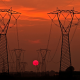 sunset, transmission tower power lines wallpaper