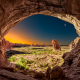 utah, sunrise, moon, arches national park, rock, desert, nature, landscape wallpaper