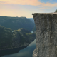 prekestolen, preachers pulpit, pulpit rock, preikestolen, norway, fjord, cliff, sitting, danger, mou wallpaper