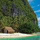 el nido, palawan, philippines, beach, hut, tropical, nature, palm trees, island, sea, white, sand wallpaper