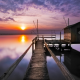 sunset, lake, reflection, nature, pier, house on water wallpaper