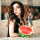 woman, knife, watermelon, brunette wallpaper