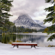 mountains, winter, bench, snow, tree, lake, park wallpaper