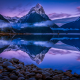 milford sound, new zealand, fjord, snowy peak, water, reflection, sunrise, clouds, nature, landscape wallpaper