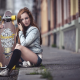 women, model, sitting, skateboards, black stockings, jean shorts wallpaper