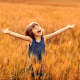 summer, field, wheat, girl, childhood, girl wallpaper