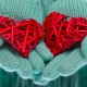 mittens, winter, hand, heart, love wallpaper