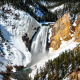 lower falls, yellowstone national park, mountains, waterfall, winter, nature wallpaper