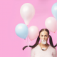bubble gum, women, balloons, ponytail, brunette wallpaper