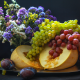 melon, grapes, plum, fruits, food, flowers, bouquet wallpaper