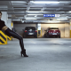 women, model, Black clothes, high heels, parking lot wallpaper