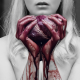 bloody heart in hand, selective coloring, heart, blood, women wallpaper