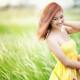 women, asian, summer, mood, field, grass, yellow dress, smiling wallpaper