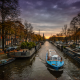amsterdam, canal, boat, netherlands, city, evening wallpaper