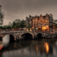 amsterdam, canal, netherlands, city, evening, buildings wallpaper