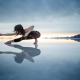 women, yoga, reflection, largest mirror on earth, salt flats, uyuni, bolivia wallpaper