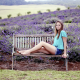 anneka j, lavender, farm, bench, women, outdoors, sitting, model, legs, jeans shorts wallpaper
