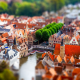 tilt shift, city, cityscape, building, old building, river, trees wallpaper