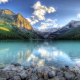 mountain, lake, forest, rock, landscape, nature wallpaper