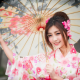 umbrella, women, asian, model, brunette, smiling, kimono wallpaper