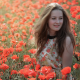 women, poppy, flowers, hairs, summer, nature wallpaper