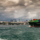 Turkey, Istanbul, city, cityscape, ship, container ships, sea, clouds wallpaper