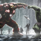 hulk, hulkbuster, marvel comics, rain, art wallpaper