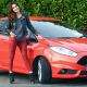 ford fiesta, women with cars, red car, ford, cars. smiling, brunette wallpaper