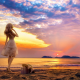 sunset, beach, ocean, women, blonde, doll, white dress, sea, nature wallpaper