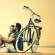couple, women, men, hugg, love, emotions, bicycle wallpaper