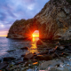 nature, landscape, rock, japan, sea, stones, sunset, sun rays wallpaper