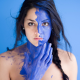 body paint, portrait, face, women, blue, model, brunette, bodyart wallpaper