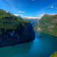 geirangerfjord, norway, mountains, forest, fjord, nature wallpaper