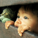 baby, child, cat, funny, humor, eyes wallpaper