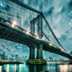 manhattan, manhattan bridge, bridge, architecture, usa, new york, night, city wallpaper